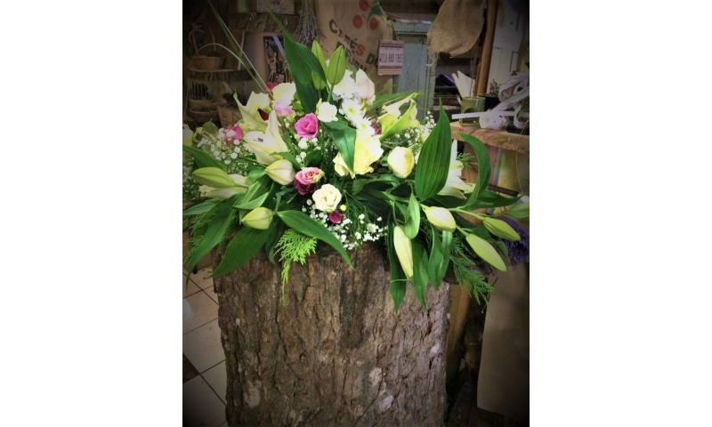 Elegant sympathy spray wreath